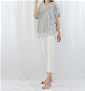 (Pre-Order) Gray Chiffon Layered Top (will ship within 1~2 weeks)