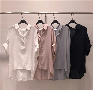 (Pre-Order) Back Button Blouse (Ivory/Pink/SkyBlue/Navy) (will ship within 1~2 weeks)