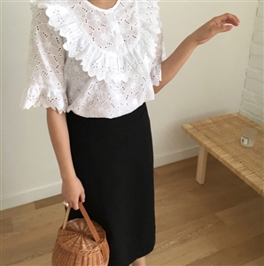 (Pre-Order) Punching Lace Blouse (White/SkyBlue/Navy) (will ship within 1~2 weeks)