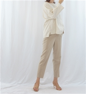 (Pre-Order) Beige Square Neck Blouse (will ship within 1~2 weeks)