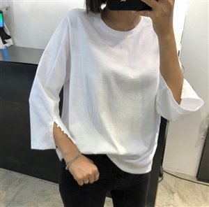 (Pre-Order) White Button Sleeve Top (will ship within 1~2 weeks)