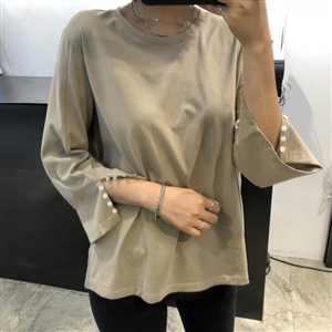 (Pre-Order) Beige Button Sleeve Top (will ship within 1~2 weeks)