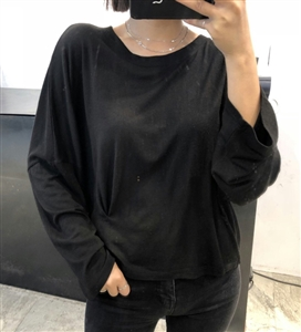 (Pre-Order) Black Unique Side Pintuck Top (will ship within 1~2 weeks)
