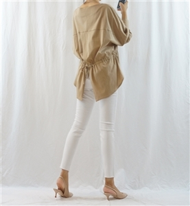 (Best; Back-Order; 3rd Reorder) Beige Back Tied Blouse (will ship within 1~2 weeks)