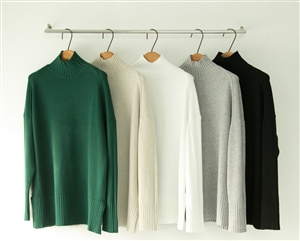 (~10/14) CASHMERE TURTLE NECK BASIC KNIT (Ivory/Beige/Black/Gray/Green) (will ship within 1~2 weeks)