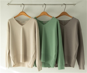 (~10/17) Vince V Neck Cashmere Knit (Beige/Gray/Mint) (will ship within 1~2 weeks)