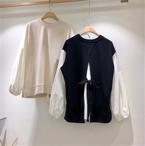 (~10/21) Back Ribbon MTM Top (Ivory/Black) (will ship within 1~2 weeks)