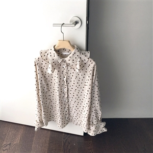 (~11/05) Dot Ruffle Blouse (Ivory/Brown/Black) (will ship within 1~2 weeks)