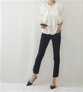 Marant Ruffle Blouse (Ivory/Black) (will ship within 1~2 weeks)