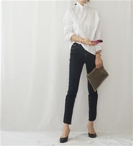 Toteme Style Unbalanced Shirt (Black/White) (will ship within 1~2 weeks)