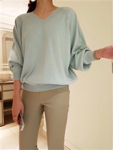 Puff Sleeve V Neck Knit (Ivory/Mint/Red/Purple/Black) (will ship within 1~2 weeks)