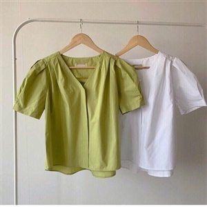 Must Have Shirring Blouse (Ivory/Lime) (will ship within 1~2 weeks)