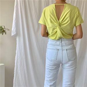 Pilates Top 2 Back Twisted Top (Black/Ivory/Yellow) (will ship within 1~2 weeks)