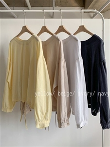 Ribbon Blouse (Ivory/Beige/Yellow/Navy) (will ship within 1~2 weeks)