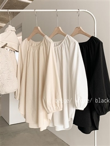 Shirring Blouse (Beige/Black/White) (will ship within 1~2 weeks)