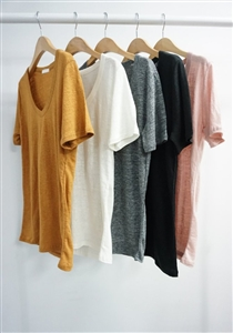Linen Scoop Top (Mustard/Ivory/Gray/Black/Pink) (will ship within 1~2 weeks)