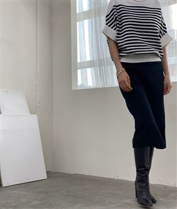 Stripe Double Sleeve Knit (Ivory/Navy) (will ship within 1~2 weeks)