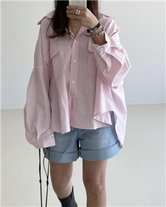 Vanessa Blouse (Pink/Yellow) (will ship within 1~2 weeks)