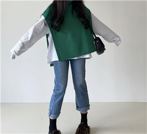Green Open Knit Vest (will ship within 1~2 weeks)